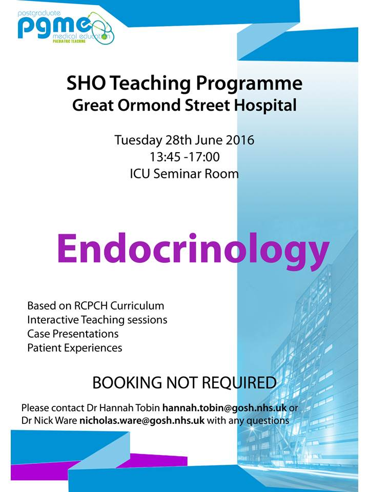 SHO/Level 1 Monthly Teaching Programme, Great Ormond Street Hospital