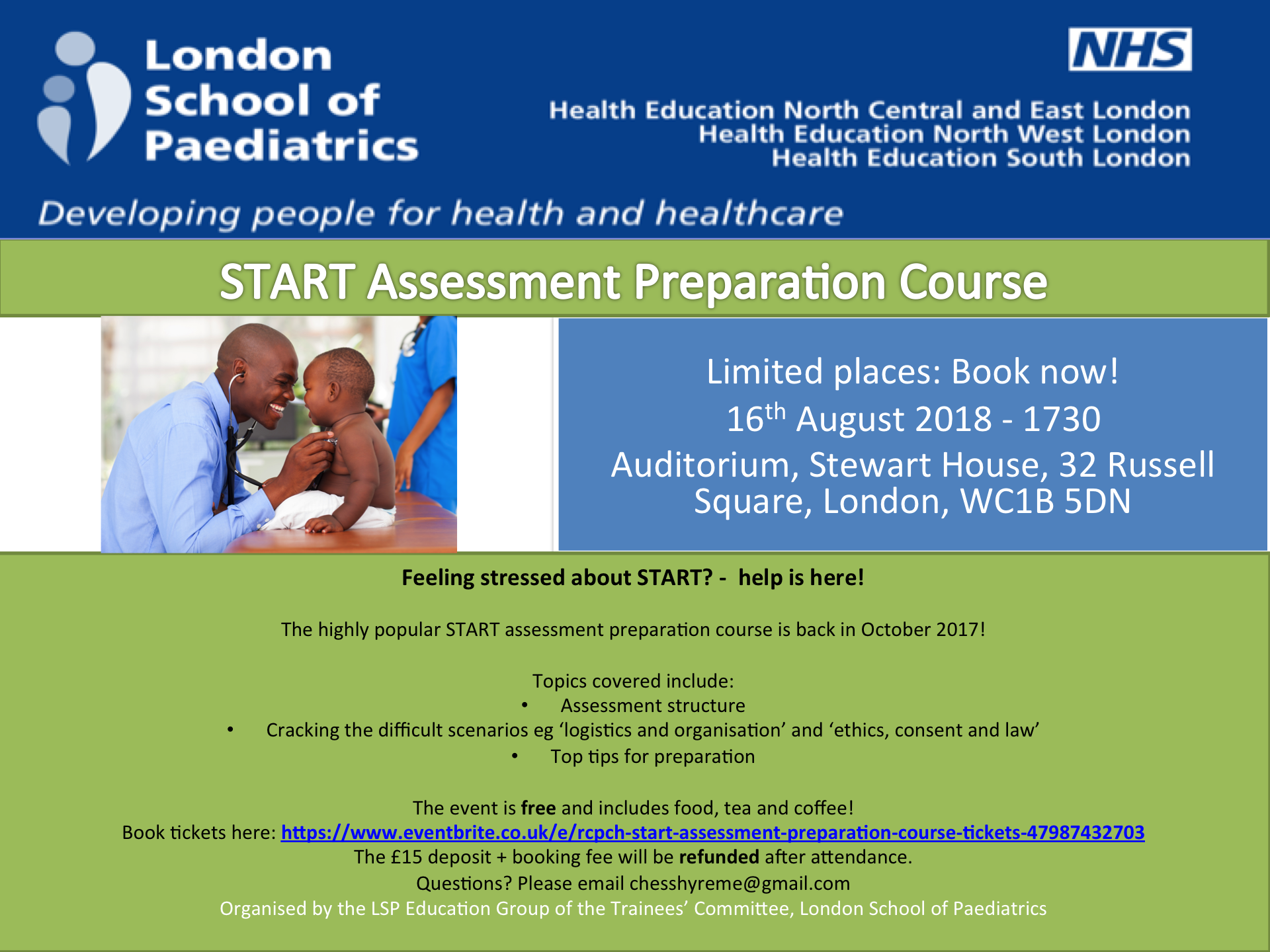 RCPCH START Assessment Preparation Course – 16th August 2018